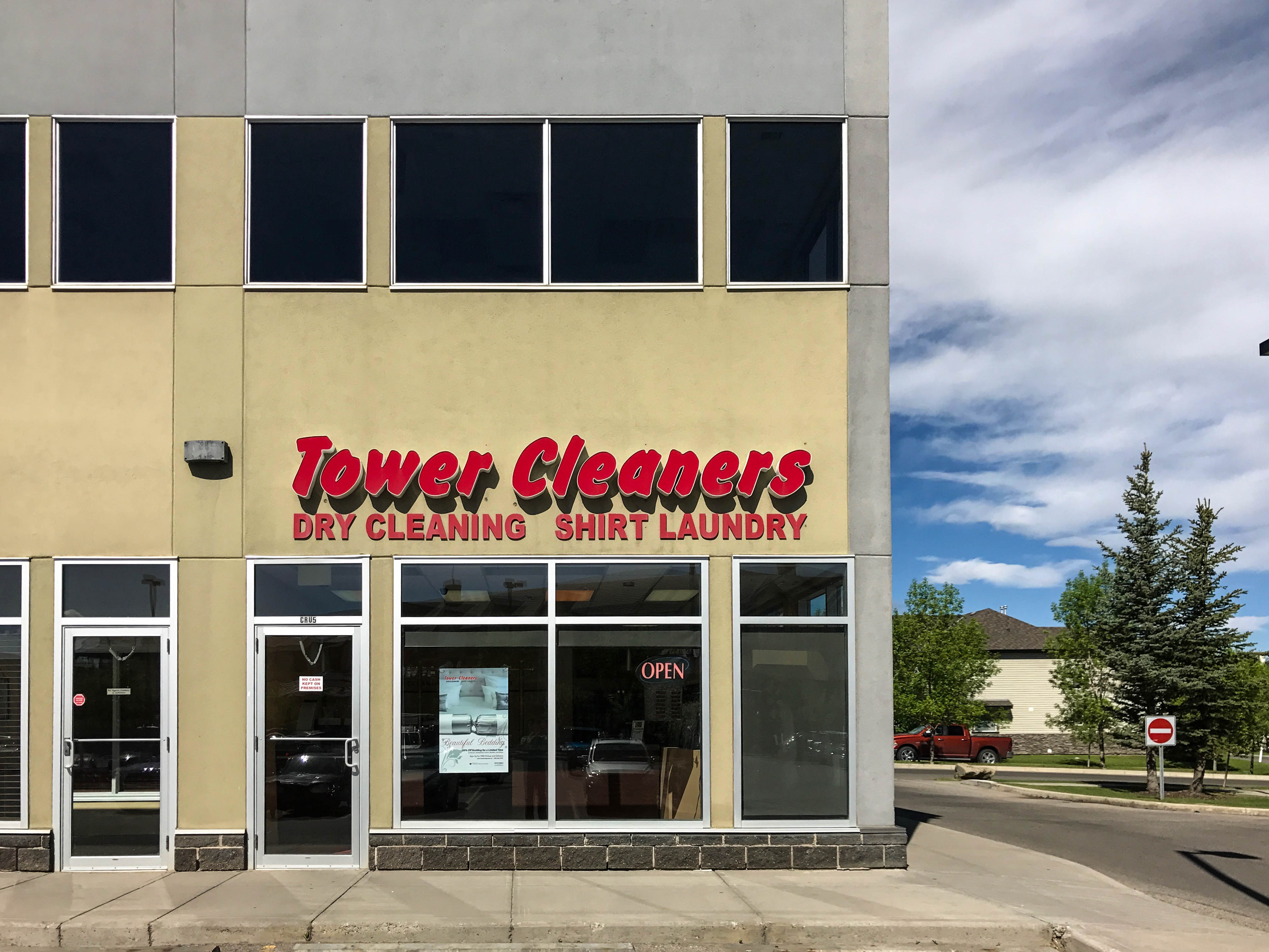 Evergreen Tower Cleaners store. #211, 2250 - 162 Ave SW, Calgary, Alberta, (403) 201-0272