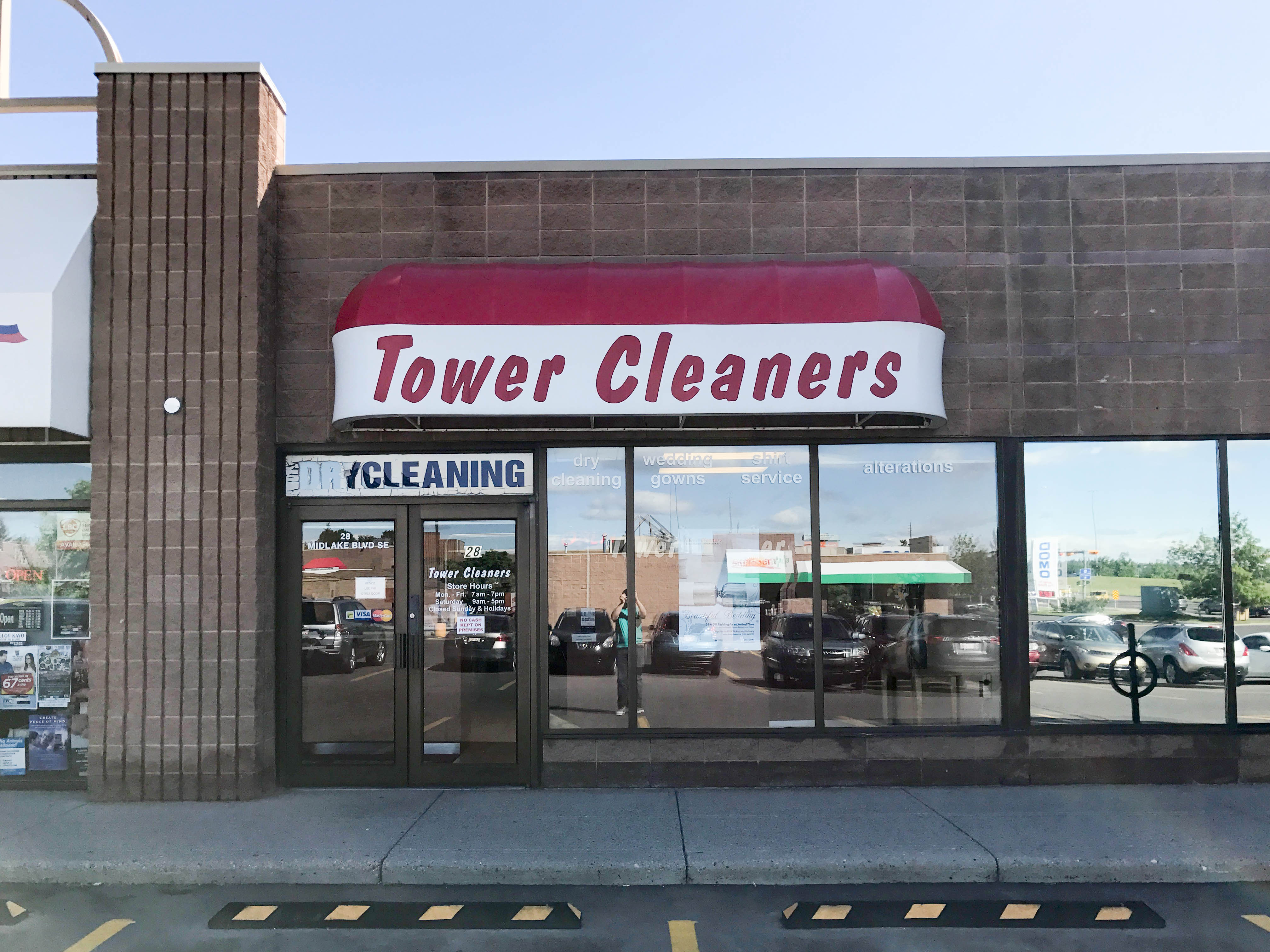 Midnapore Tower Cleaners store. 28 Midlake Blvd SE, Calgary, Alberta, (403) 256-1771