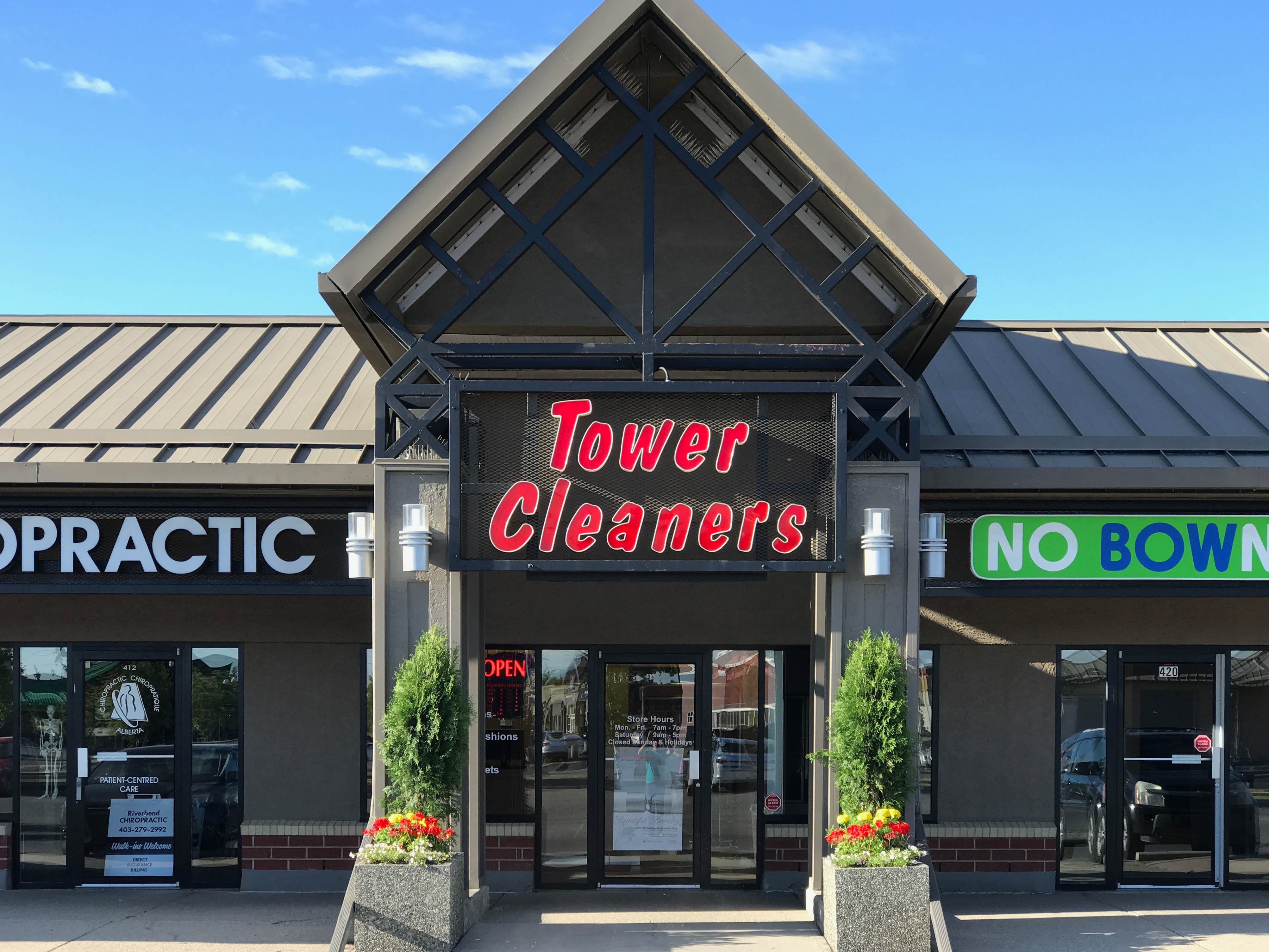 Riverbend Tower Cleaners store. #428, 8338 - 18 St SE, Calgary, Alberta, (403) 279-5185